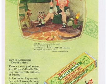 1928 Wrigley's Double Mint Chewing Gum MOTHER GOOSE Little Spear Horner Print Ad
