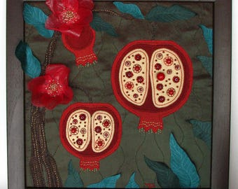 Textile picture - Pomegranates/wall art, art quilt/interior decoration