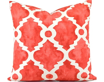 Pillow Covers ANY SIZE Decorative Salmon Pillow Cover Coral Pillow Premier Prints Madrid Salmon