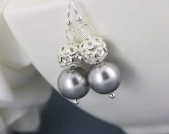 Bridesmaid Gift Light Grey Swarovski Pearl Earring Pearl and Rhinestones Earrings Bridesmaid Gift Bridesmaid Earrings Grey Earrings