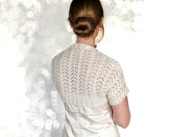 Mariage Ivoire dentelle mariée boléro tricoté Cover Up Mia Cachemire Merino laine à la main en tricot veste blanche mariée d'hiver Style rétro XS S