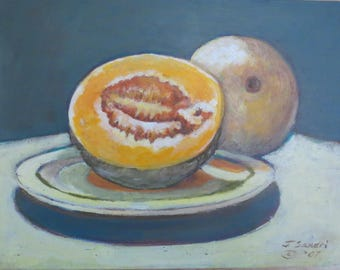 """Original, Acrylic Painting, Still Life, Cantaloupe, Painting a Day, Daily Painting 6"""" x 8"""""""