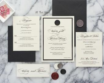 Formal Wedding Invitations, Wax Seal Wedding Invitation Set, Fancy Monogrammed Wedding Invitation, Invites for Elegant wedding, Valerie