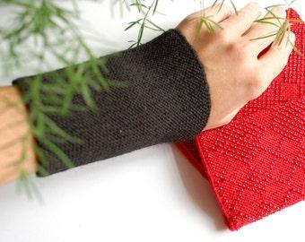 Mens Wrist Warmers Black - Unique mens arm cuffs - Merino wool hand knitted fingerless gloves