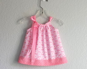 Baby Girls Pink and Coral Pillowcase Dress - Pink Dress and Bloomers - Infant Sun Dress with White Daisies - Size Nb, 3m, 6m, 9m, 12m, 18m