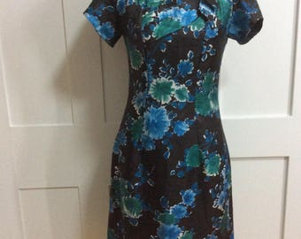 Late 1950's Early 60's Floral Wiggle Dress TLC