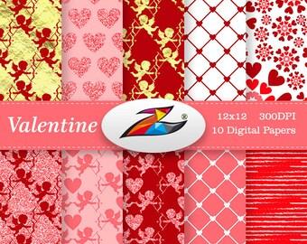 Sale Valentine digital paper Red background Commercial Use valentines day Heart digital paper Gold paper Glitter Scrapbook paper