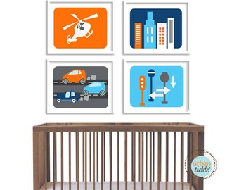 Modern City Art Prints for Child's room, Modern City Life, set of 4, 8X10, Nursery decor, Boys room decor