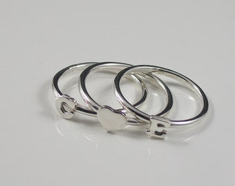 Silver Initial Stacking Rings, 2 Initial Rings and 1 Heart Ring