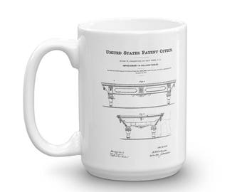 Pool Table Patent Mug - Billiard Table, Pool Table, Pool Mug, Billiard Mug, Pool Player Gift, Pool Table Mug, Billiard Player