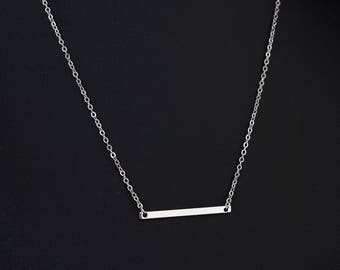 Dainty Necklace, Silver Bar and Fine Chain, Contemporary, Minimalist Jewellery