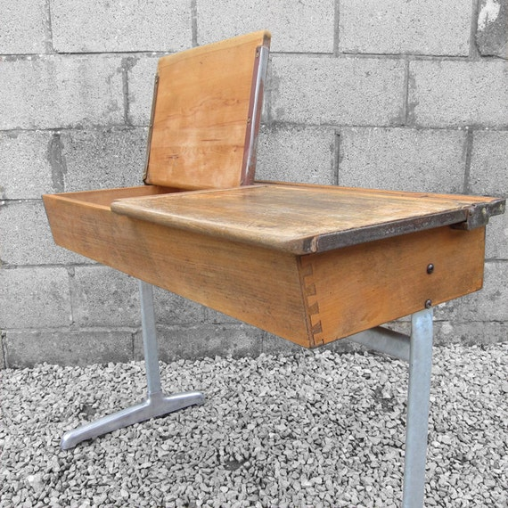 School Desk Industrial Mid Century Double Twin Vintage Modernist 1950s Design Kids Height