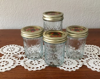 Vintage Ball Quilted Crystal Jelly Jars with Decorative Lids for Quilted Crystal Jelly Jars / Quilted Jam Jars / Lot of 4 Ball Jelly Jars