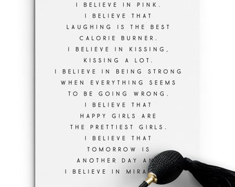 I Believe in Pink. Audrey Hepburn Quote Print - PRINTABLE FILE. Girls Room Print. Motivational Inspirational Quote. Tumblr Wall Décor.