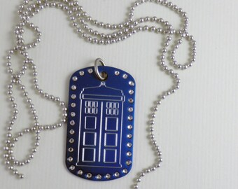 Tardis Dog Tag  Blue with  Swarovski Stones, Made in USA