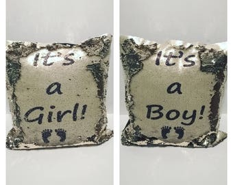 Gender Reveal Gold Sequin Magic Mermaid Cushion - It's a Boy, It's a Girl, personalized, novelty cushion, magic cushion, Baby, pregnancy