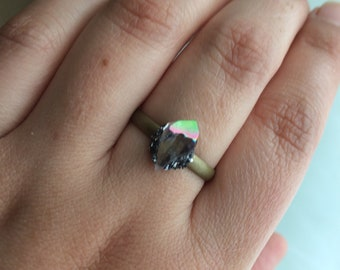 Rainbow Aura Amethyst Adjustable Ring