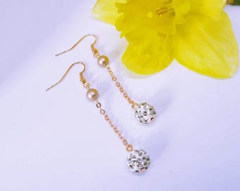 Rose Gold and Pearl Chain Earrings