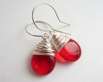 Red Earrings Ruby Czech Glass July Birthstone Jewelry Drop Earrings Red Jewelry Wire Wrapped Jewelry Handmade