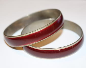 Deep Red Enamel Bangles