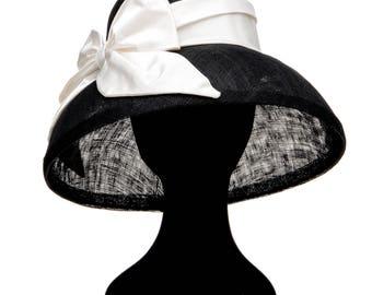 SAMPLE SALE: Classic Audrey Hepburn breakfast at Tiffany shape hat with 100% silk satin sash bow