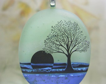 Blue Lake Pendant, Fused Glass Jewelry Handmade in North Carolina