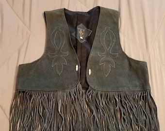 Vintage Chasser, western, cowboy, cowgirl green suede leather fringed vest