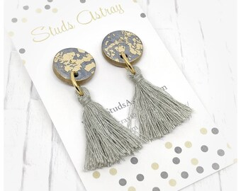 Silver and gold tassel earrings drop earrings nickel free earrings college student gift for her lightweight earrings polymer clay earrings