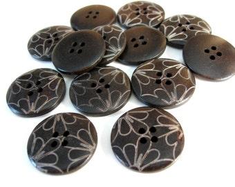 Bouton de bois foncé de 2.5cm - ensemble de 6 boutons en bois naturel - Pétale de fleur