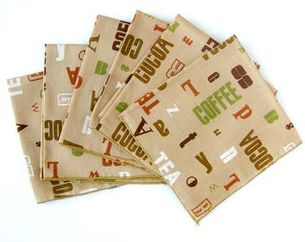 MOD Cloth Cotton Napkins - Coffee Themed Typographic Pattern In Brown, Green, Orange and Taupe / Set of 6