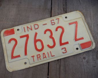 Vintage License Plate Indiana 1967 Metal Rustic Patina Decor Auto Car Collectible Man Cave Garage Bar Pub Decor