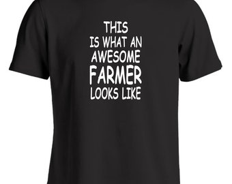 This is what an awesome farmer looks like mens novelty funny t shirt tractor cab accessories cow shed farmers wear overalls