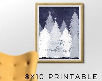 Winter Wonderland Printable, 8x10 Printable, Holiday Printable,Blue Christmas Printable, Winter Decor, Snowy Tree Art,Christmas Art,Blue Art