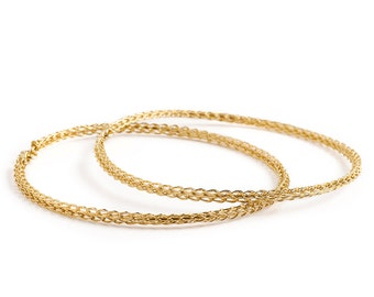 GOLD bangle bracelets, wire crochet jewelry gold filled bangles, two handmade bangles