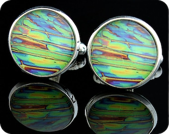 Graduation gift for pharmacist or chemist - Science gift - Chemistry Cufflinks - Chemical crystals (imidazole) by polarised light microscopy