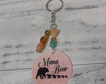 Mama Bear with 5 cubs keychain- 5 cubs-pink/rose gold with beading- keyring
