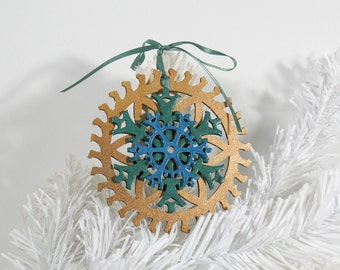 Steampunk Peacock Antique Brass, Metallic Green and Teal Gear and Snowflake Christmas Ornament, 4-inch