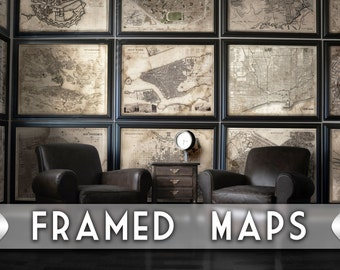 Framed map | Etsy
