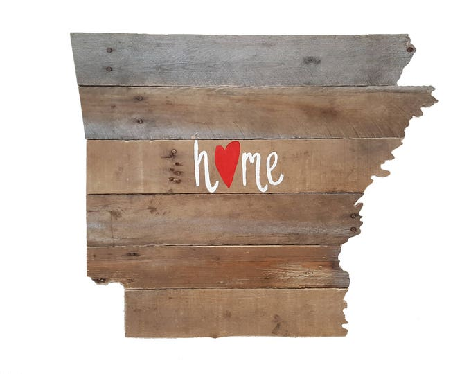 "Arkansas State ""Home"" Sign, Wooden Decor, Reclaimed Wood, State Sign"