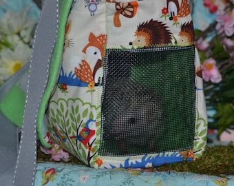 Happy hedgehog bag (fox and forest fabric)