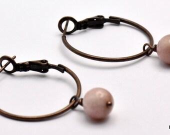 Copper and Sunstone Drop Hoop Earrings - EA00342