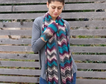 Crochet pattern woman chevron scarf, women waves  ripples scarf,  long zig zag  scarf, lace  wrap,  Instant download