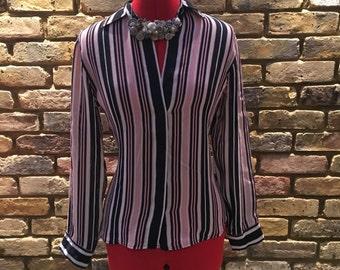 1990's Vintage Silk Ralph Lauren Blouse | UK 8-10 | 100% Silk Pinstripe | Stunning Cut Fitted Smart Shirt