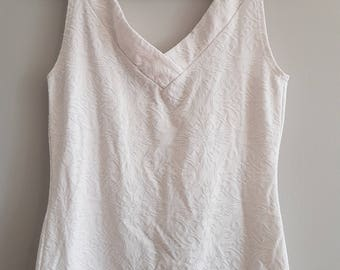 Vintage cream colour embossed fabric ARIANNE tank top, Made in Canada.