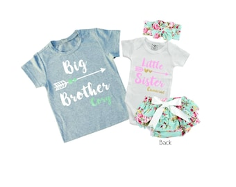 SET Personalized Big Brother/ Little Sister Shirt / Onesie Diaper Cover and Headband set. Matching Big Brother Little Sister Set.