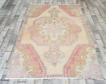 VINTAGE Oushak Tribal Turkish Handwoven Wool Rug Carpet Turkish Old Patterned Rug kilim rug   Peerless Rug