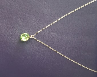 Green crystal on fine Sterling Silver chain