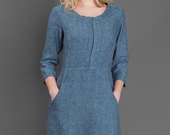 Linen women dress, Pure linen dress, Blue dress, Linen Dress, Linen clothing, Linen clothes