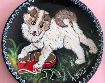 Dog Hand Painted Plate