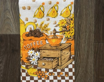 Coffee lovers linen towel vintage tea towel gifts for coffee lovers 1960s decor kitchen dish grinder coffee beans floral yellow brown